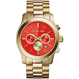 Michael Kors MK5930 Gold Tone Stainless Steel Orange Dial Quartz 45mm Unisex Watch