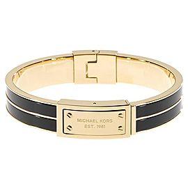 Michael Kors Gold Tone Stainless Steel & Black Enamel Bracelet