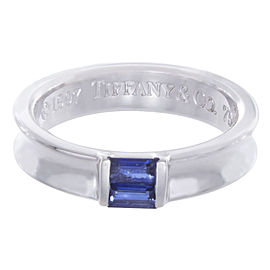 Tiffany & Co. 18K White Gold Blue Sapphire Stacking Ring Size 6.75