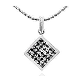 Leibish 18K White Gold Square Black Diamond Pendant Necklace