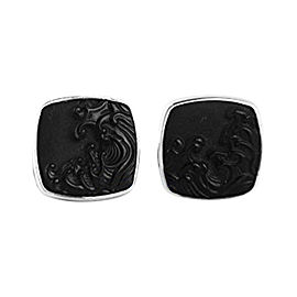 David Yurman 925 Sterling Silver Carved Black Onyx Waves Cufflinks