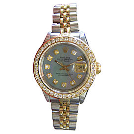Rolex Datejust 69173 Stainless Steel and 18K Yellow Gold Diamonds Mother of Pearl Dial 25mm Womens Watch