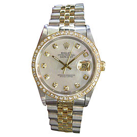 Rolex Datejust 16013 Yellow Gold and Stainless Steel Mother-of-Pearl Dial 36mm Mens Watch