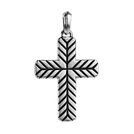 David Yurman 925 Sterling Silver Chevon Cross Pendant