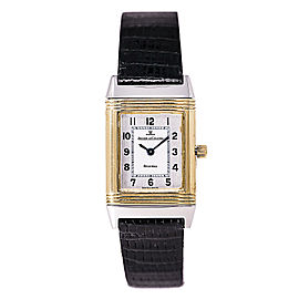 Jaeger LeCoultre Reverso 260.5.08 Stainless Steel/18K Yellow Gold & Leather Silver Dial Quartz 20mm Womens Watch
