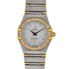 Omega Constellation Stainless Steel & Yellow Gold wDiamond Quartz 23mm Womens Watch