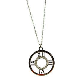 Tiffany & Co. Atlas 18K White Gold & Diamond Roman Numeral Round Pendant Necklace