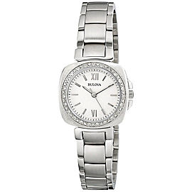 Bulova 96R200 Stainless Steel White Diamond Dial 26mm Womens Watch