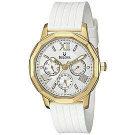 Bulova 97N108 Gold Tone Stainless Steel White Dial White Silicone Strap Multifunction Dress 38mm Womens Watch
