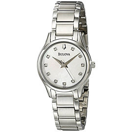 Bulova 96P141 Stainless Steel Mother of Pearl Diamond Dial 27mm Womens Watch