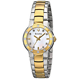 Bulova 98R168 Two Tone Stainless Steel Gold Tone Mother of Pearl Dial Diamond Bezel 28mm Womens Watch