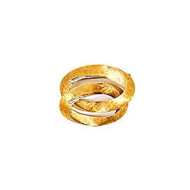 18K Yellow Gold & Diamonds Overlapped Ovals Pin Brooch