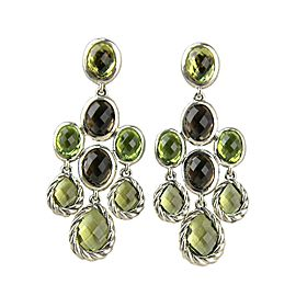 David Yurman 925 Sterling Silver Peridot, Lemon Citrine, Smokey Quartz Dangling Peridot Earrings