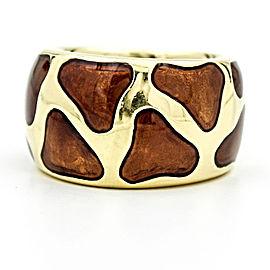 Roberto Coin Giraffe 18K Yellow Gold Enamel Band Ring Size 6.75