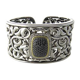 Charles Krypell 925 Sterling Silver & 18K Yellow Gold with Diamond Cuff Bracelet