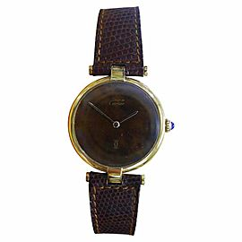 Cartier Must De Cartier Vermeil Gold Plated Sterling Silver & Brown Dial 30mm Mens Watch