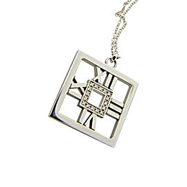 Tiffany & Co. Atlas 18K White Gold & 0.25tcw Diamond Square Medallion Pendant Necklace