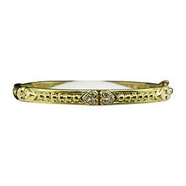 Judith Ripka 18K Yellow Gold & Diamond Heart Bangle Bracelet