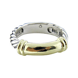 David Yurman 14K Yellow Gold & 925 Sterling Silver Double Cable Band Ring Size 5.0