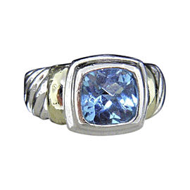 David Yurman 925 Sterling Silver & 14K Yellow Gold with Blue Topaz Petite Albion Ring Size 5