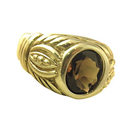 Judith Ripka 925 Sterling Silver with Smokey Quartz Signet Ring Size 10