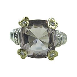 Judith Ripka 925 Sterling Silver & 18K Yellow Gold with Pink Crystal & White Diamonds Ring Size 7.75