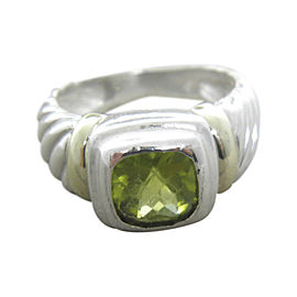 David Yurman Petite Albion 925 Sterling Silver and 14K Yellow Gold with Peridot Ring Size 6