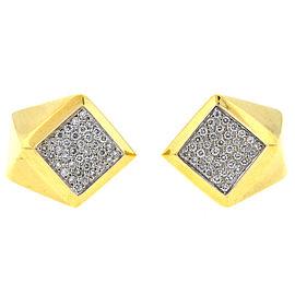 18k Yellow Gold Pave Diamond Ladies Earrings