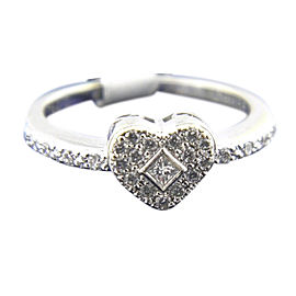 Philippe Charriol 750 White Gold with Diamond Princess Collection Ring Size 5.75