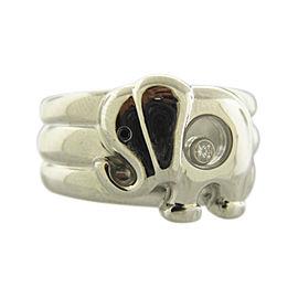 Chopard Happy Diamonds Elephant 18K White Gold Diamond and Sapphire Ring Size 7