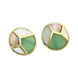 Ippolita Rock Candy 18K Yellow Gold with Onyx and Mother of Pearl Stud Earrings