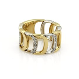Damiani Damianissima 18K Yellow & White Gold Diamond D Flex Band Ring Size 6.5