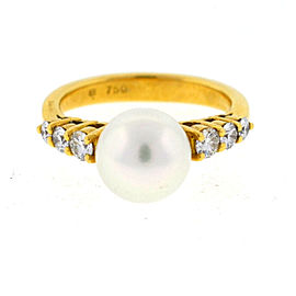 Mikimoto 18K Yellow Gold Pearl & Diamond Ring Size 4.25