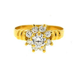 18K Yellow Gold Cluster 0.36ct. Diamond Ring Size 5.25