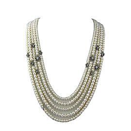 David Yurman 925 Sterling Silver Pearl & Diamond Starburst Necklace