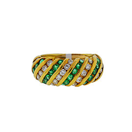 18K Yellow Gold Emerald & 1.00ct. Diamonds Ring Size 3