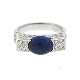 18K White Gold Sapphire Cabochon & 1.10ct. Diamonds Ring Size 6.25