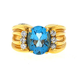 14K Yellow Gold Oval Blue Topaz & Diamonds Ring Size 8.25