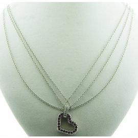 FINE ESTATE 14K WHITE GOLD PINK STONE HEART DIAMOND PENDANT NECKLACE