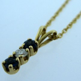 14K YELLOW GOLD CHAIN W/ SAPPHIRE DIAMOND PENDANT NECKLACE