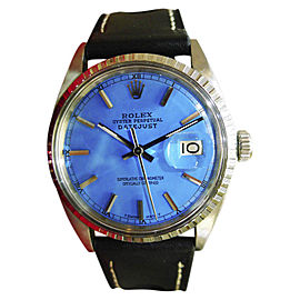 Rolex Datejust Stainless Steel & Leather Blue Dial Automatic 36mm Mens Watch