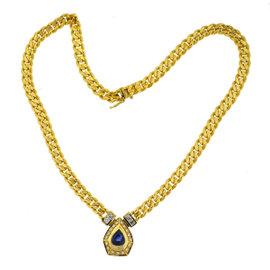 18k Yellow Gold Pear Shape Sapphire & Diamonds Pendant Necklace