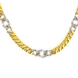 18k Two Tone Cuban Link w/ Diamonds Chain Necklace
