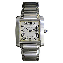Cartier Tank Francaise 2302 Stainless Steel Vintage Automatic 28mm Mens Watch