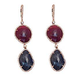 14K Rose Gold Sapphire Ruby Diamond Earrings
