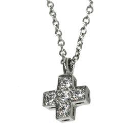 Tiffany & Co. PT950 Platinum with Diamond Cross Pendant Necklace