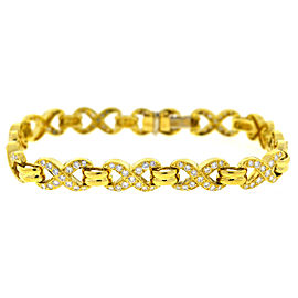 "18K Yellow Gold 3.12ctw Diamond ""X"" Style Link Bracelet"