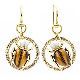 Gucci Scarab 18K Yellow Gold with Agate, Tiger Eye and Diamonds Hook Earrings
