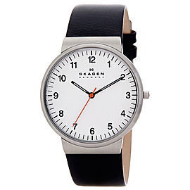 Skagen PRSK1028 Stainless Steel & Leather White Dial Quartz 40mm Men's Watch