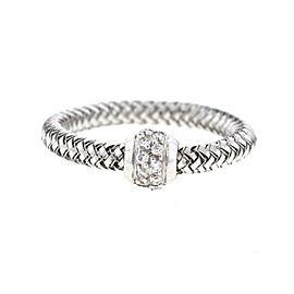 Roberto Coin Primavera 18K White Gold 0.10ct. Diamonds Flexible Ring Size 6